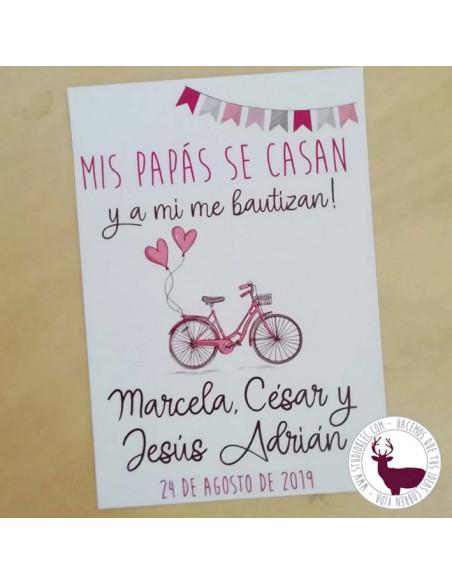 Invitación de boda y bautizo. Diseño romántico en tonos granate y rosa. Bicicleta vintage.