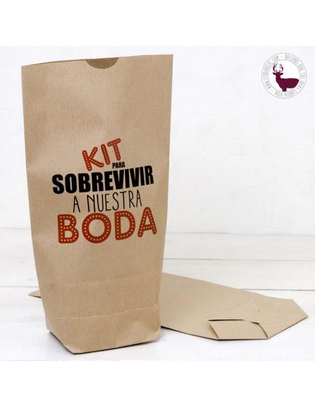 Bolsa de papel para crear un kit de emergencia personalizado para tu boda.