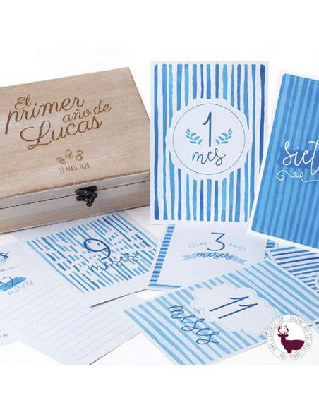 Caja de madera personalizada, para los recuerdos del primer año de tu bebé.