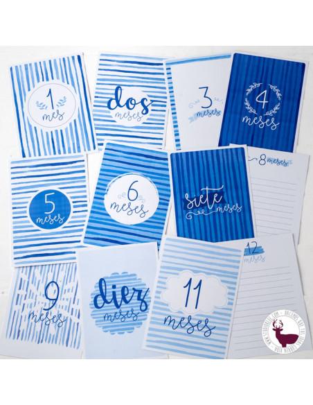 Tarjetones primer año bebé. Escribe sus primeras experiencias. Azul.