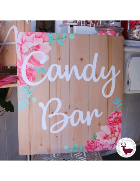 Cartel candy bar comunión flores