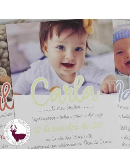 Invitación para bautizo. Sencilla y bonita, con la foto del bebé.