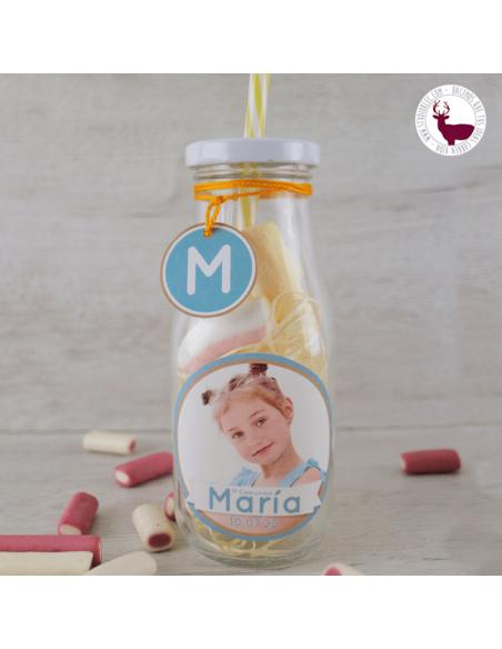Botella vintage de cristal con tapa y pajita. Personalizada con foto y datos del niño.