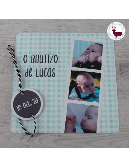 Detalle invitación bautizo cuadros vichy, con fotos del bebé.