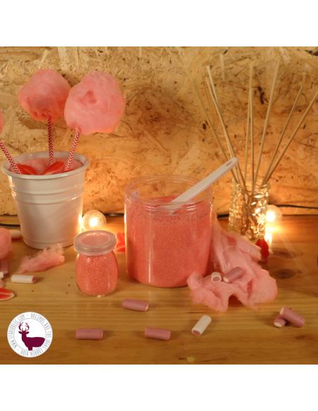 Azúcar sabor fresa y palitos, para hacer tu algodón de azúcar en casa.