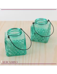 Jarrones cristal turquesa con dibujo geométrico