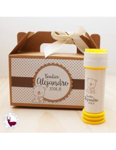 Pompero amarillo personalizado con osito y topos en tonos marrón