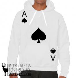 Sudadera para jugadores de poker. Con capucha y bolsillo delantero. Diseño As de picas.